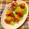 かぼちゃボールとカリカリ蓮根のサラダ